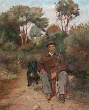 Portrait Of A Sportsman Hunter & His Spaniel Dog Oil