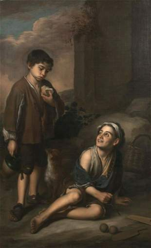 Spanish Peasant Children Oil Painting