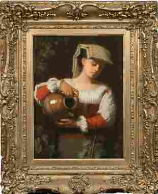Neapolitan Lady Watering The Plants Oil Painting