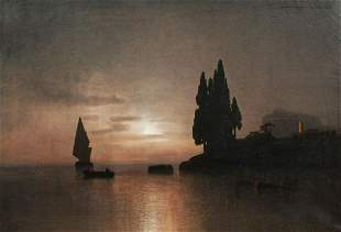 Coastal Landscape Gulf Of Genoa Oil Painting
