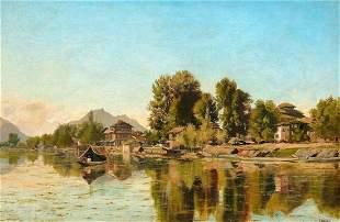 Chanab Kashmir India Oil Painting