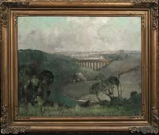 1920 Lincolnshire Viaduct Landscape Oil Painting