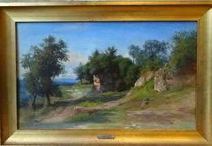 Lake Albano Rome Landscape Oil Painting