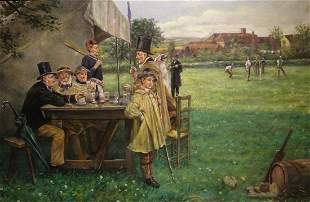 Cricket Match Landscape Oil Painting
