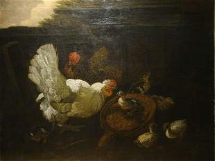 Fowl Chickens & Chicks Oil Painting