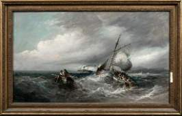 Ships In A Storm Oil Painting