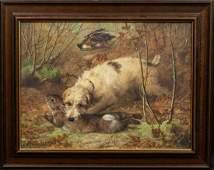 Terrier Hound & Rabbit Hunt Oil Painting