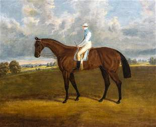 Race Horse & Jockey Oil Painting
