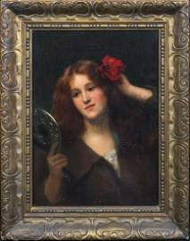 Portrait Of A Red Haired Lady Oil Painting