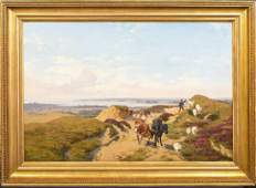 Coastal Landscape Shepherd & Flock Oil Painting