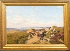 Coastal Landscape Shepherd & Flock Oil Painting