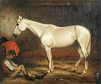 Portrait White Arabian Horse In Stable Oil Painting
