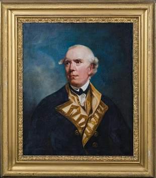 Royal Navy Portrait Admiral Barrington Oil Painting