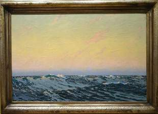 """Sunset Seascape """"Open Water"""" Oil Painting"""