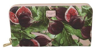 Fig Fruit Dauphine Leather Zipper Continental Wallet