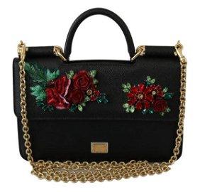 Black Floral Crystal Cross Body Sicily Leather Bag