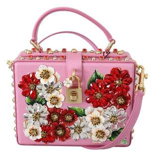 Pink Leather Floral Crystal Purse Borse BOX Purse