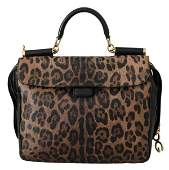 Brown Leather Leopard Shoulder Purse Borse SICILY Bag
