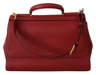 Red Leather Hand Shoulder Satchel Purse SICILY Bag
