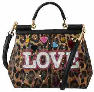 Brown Leopard Leather LOVE Studded SICILY Bag