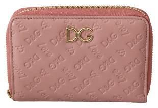 Pink Logo Leather Leopard Zipper Bill Card Coin Wallet