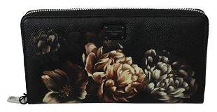 Black Floral Dauphine Leather Continental Clutch Wallet