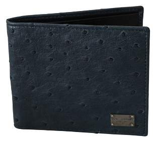 Blue Ostrich Leather Bifold Mens Card Bill Slot Wallet