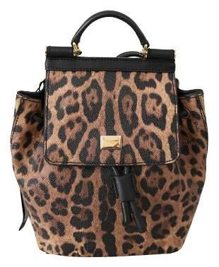 Brown Leopard Leather Backpack Women Borse SICILY Bag