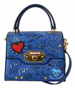 Blue Leather DG Heart Crossbody WELCOME Purse Bag