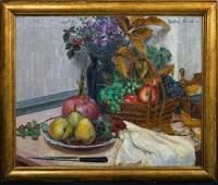 Still Life Fruit & Flowers Oil Painting