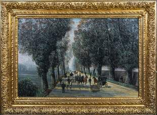 Parisian Street Scene People & Carriages Oil Painting