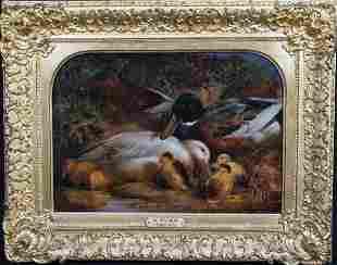 Ducks & Ducklings Oil Painting