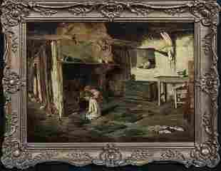Children & Feeding Ducklings Oil Painting