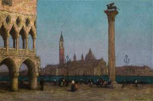 The Piazzetta At Twilight Oil Painting