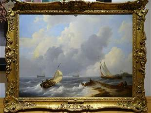 Coastal Shipping Oil Painting