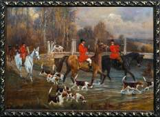 Fox Hunt & Hounds Hunting Oil Painting
