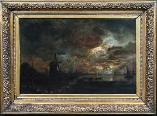 Moonlit River Landscape Oil Painting