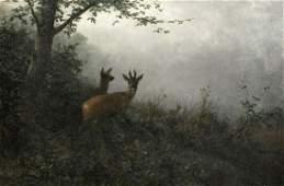 Forest Deer Landscape Oil Painting