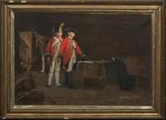1745 British Soldiers Interior Scene Oil Painting