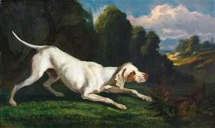 Hound Dog & Pheasant Hunting Oil Painting