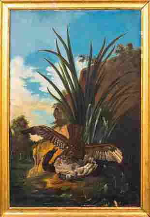 Hawk Attacking A Duck Oil Painting