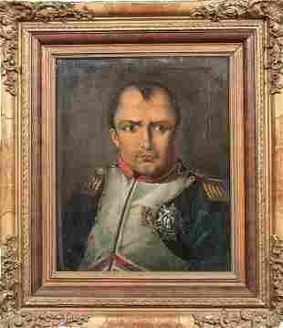 Military Portrait Of Napoleon Bonaparte (1769-1821) Oil