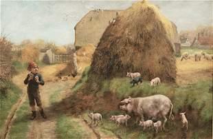 Boy Pig & Piglets Oil Painting