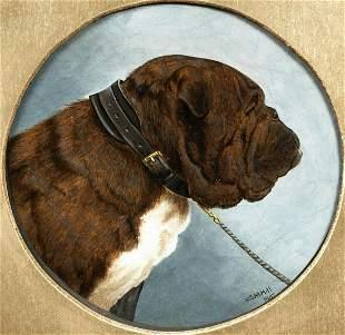Portrait Of A British Bulldog Oil Painting