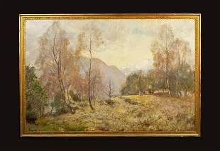 Woodland Hillside Autumn Landscape Oil Painting
