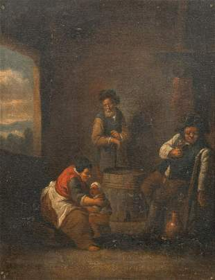 Peasants Drinking & Mother Potty Training Oil Painting