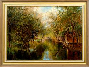Lake Kashmir India Landscape Oil Painting