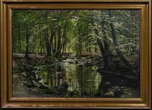 Lellinge Woodland Forest Landscape Oil Painting