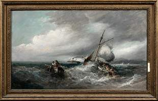 Ships In A Storm Isle Of Man Oil Painting