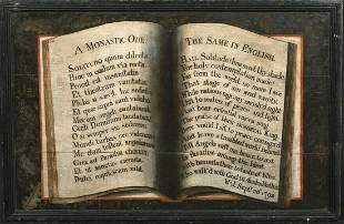 English & Latin Monastic Ode Antique Book Oil Painting